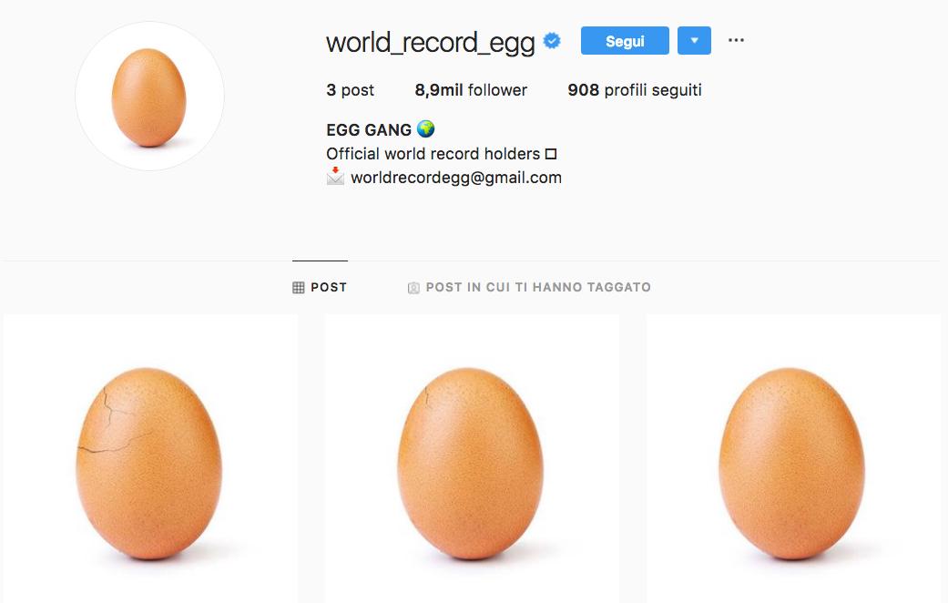 foto uovo Instagram egg